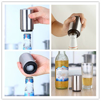 Wholesale Cylinder Magnets - New Stainless Steel Magnet-Automatic Bottle Opener Automatic Beer Opener Silver cylinder Bottle Opener
