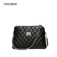 Wholesale cell phones shell shapes - Wholesale- Genuine Leather Women Messenger Bags Fashion Mini Bag Diamong Lattice Shell Shape Bag Women Chain Shoulder Bags free shipping