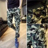 Wholesale Wholesale Camo Trousers - Wholesale-Mens Camo pants Casual Baggy Joggers Dance Sportwear Harem Pants Slacks Trousers Sweatpants