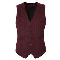 Wholesale Mens V Neck Striped Collar - Wholesale- Men Suit Vest Black Grey V neck Collar Classic Dress Slim Fit Vests Male Sleeveless Brand Mens Formal Wedding Waistcoat 3XL