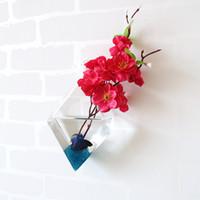 Wholesale Hanging Glass Plant Containers - Ivolador Diamond Glass Flower Planter Vase Terrarium Container Home Garden Décor Wall Hanging Vase Bottle Plant Flower