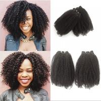 insan kemerli atkı teli toptan satış-Moğol Bakire Saç Dokuma 2 Parça Afro Kinky Kıvırcık İnsan Saç Atkı Demetleri 8-24 inç Boyalı Olabilir FDSHINE