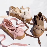 Wholesale Lavender Sandals - Fenty By Rihanna Womens Bow Creeper Sandal Natural-Oatmeal ,Pink Tint,Silver Pink,natural Leather wrap sandals Women fashon size 36-40