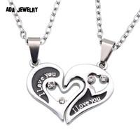 Wholesale Hearts Necklace Pendants Couple - Wholesale-Wholesale Couple Lovers Necklaces & Pendants 316L Stainless Chain men Necklaces I Love U Double Heart Necklace Jewelry