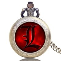 Wholesale Death Note Pocket Watch - Wholesale-New Arrival Death Note Design Pocket Watch Chian Necklace High Quality Watches Gift Free Shipping P1189