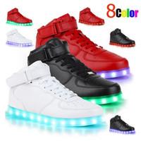 zapatillas brillantes para adultos al por mayor-8 colores de carga USB led zapatos luminosos hombres / mujeres de cuero zapatos impermeables zapatillas luminosas brillantes iluminan zapatillas de deporte zapatos de hombre para adulto
