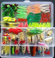 Wholesale salmon fishing baits - 132pcs Fishing Lure Set Including Plastic Soft Frog Spoon Hard Lures Popper Crank Rattlin Trout Bass Salmon And More out16