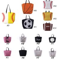 Softball Tote Sacs à main Sac de baseball pour femme Sacs de football Sac à balles de football Sacs de sport Black White Blanks en coton avec Hasps Closure Sac de sport