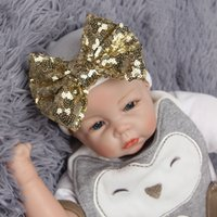 Wholesale Winter Accessories Ear Muffs - 3Seasons Newborn hats with sequin Bowknot Baby Cute beanie Toddle warm Bonnet accessory Photography Props 6colors