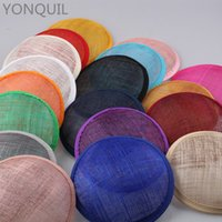 Wholesale black hat base - 2017 Multiple Color 13CM ROUND SINAMAY Fascinator Base material for ladies Headpiece New DIY Women Party Fascinator Hat 12pcs Lot WHolesale