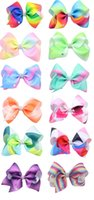 Wholesale Bowknot Rhinestone - 20 Pcs Lot 5 Inch Girls Gradient Rainbow Geometric Ribbon Bow With Clip Bowknot Center With Rhinestone Barrettes Beautiful HuiLin AW28