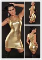 Wholesale Sexy Club Dresses Metallic - 6 Colors Women Metallic Faux Leather Bodycon Mini Dress Sexy Shiny Disco Clubwear Slash Wet Look Dress