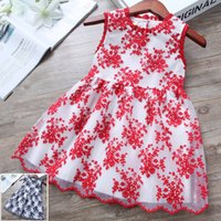 Wholesale Childrens Embroidered Clothing - 2017 new spring and summer kids clothing sleeveless baby girls dresses childrens skirt Princess crew neck vest dress