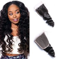 Wholesale Nature Babies - Brazilian Loose Wave Hair Lace Closure 4x4 Nature Color 100% Non-remy Human Hair Closure With Baby Hair FDSHINE