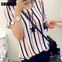 Wholesale Korean Fashion Shirts Blouses - Women Blouses Shirts Short Sleeve Summer 2017 Fashion Korean Style Chiffon Striped Shirt Ladies Tops Plus Size Female Clothing