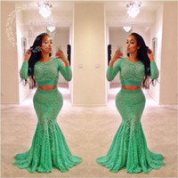 Wholesale Lime Green Long Formal Dresses - Lime Green Lace Two Pieces Prom Dresses 2017 Long Sleeves Mermaid Evening Dress African Plus Size Black Girls Formal Party Gowns