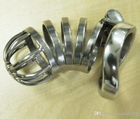 """Wholesale Bdsm Cocks - 2016 Rushed Dinette Enfant New Design 55mm Length Stainless Steel Super Small Male Chastity Device 2.1"""" Short Curve Cock Cage for Bdsm"""