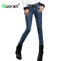 Wholesale leggings rivets - Wholesale- {Guoran} 2017 skinny jeans Pants for woman Plus size Blue denim trousers Skinny ladies Femme Pantalon jeans leggings no velvet