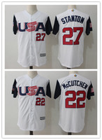 Wholesale T L Name - USA Baseball Jersey Giancarlo Stanton 27 Andrew McCutchen 22 Majestic Navy 2017 World Baseball Classic Name & Number T-Shirt 100% stitched