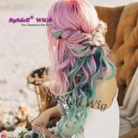 Barato Perucas De Cosplay Cor De Rosa-Pintado Pastel Rainbow Color Wig Longo Deep Curly Wave Beleza Ombre Pink Purple Dark Green Color Anime Cosplay Party Wig