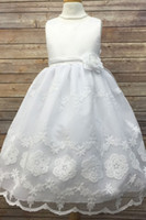 Wholesale Toddlers Discount Dresses - 2017 Big Discount Ivory Jewel Tea Length sleeveless with Appliques Lace Flower Girl Dress with Bow for sale