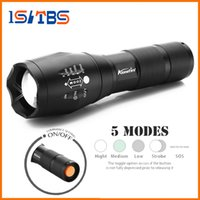 Wholesale Led Flashlight Uniquefire - CREE XML T6 4000Lumens 5 model High Power LED Torches Zoomable Tactical LED Flashlights torch light for 3xAAA or 1x18650 battery
