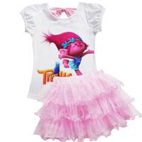 Wholesale Clothes Characters Baby - Trolls Baby Girl Clothes Summer Casual Sets Children Cotton Tshirt skirt Dress 2 PCS Suits Birthday Kids Clothing