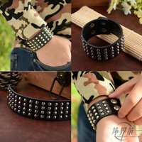 Wholesale Leather Celtic Studs - Wholesale-Punk Unique Row Cuspidal Spikes Rivet Stud Wide Cuff Leather Gothic Rock Unisex Bangle Bracelet men jewelry