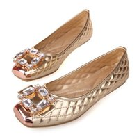 Wholesale Diamond Gold Heels - Free Shipping 2016 In The Spring and Autumn Season Diamond Flat Shoes Qshoes Big Yards for Women's Shoes