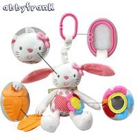 Wholesale Doll Prams - Wholesale- Rabbit Baby Rattle Crib With Gutta-percha Pram Toys Soft Bunny Plush Doll Hanging Stroller Infant Baby Toys 0-12 Months