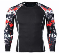 Wholesale Rash Shirts - Wholesale- Long Sleeve Rash Guard Complete Graphic Compression Shorts Multi-use Fitness MMA Tops Shirts Men Suits