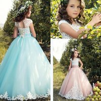 Wholesale Headband Communion - Beauty Flower Girls Dresses 2017 Capped Sleeves Illusion Applique Tulle Communion Gown For Teen Kids Birthday Wear Free Headband