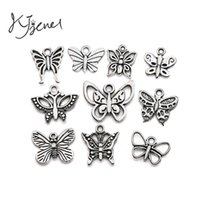 Wholesale European Necklaces Statement - Butterfly Charms Tibetan Silver Plated Pendant Statement Jewelry Making DIY Handmade Jewelry Accessories fit for European Necklace
