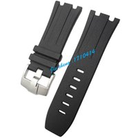 Wholesale Silicone Rubber Watch Bands - Free Shipping 28 29 mm new high-quality stainless steel Silver buckle black diving silicone rubber watch band strap G-AP38