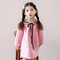 Wholesale Girls Sailor Style Dress - Sweet Girls Princess Dress Korean Bow Children Long Sleeve Dress Autumn Winter Sailor style Kids Pink Dresses C2469