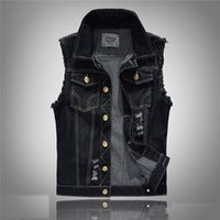 Wholesale Ripped Vest Top - Denim Vest Mens Jackets Sleeveless Fashion Washed Jeans Waistcoat Mens Tank Top Cowboy Male Ripped Jacket Plus Size