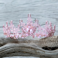 Урожай Свадебные головные украшения Rhinestone Crystal Butterfly Baroque Prom Queen Pink Crown Tiara Headpiece Headband Hairband Bridal Accessories
