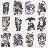 Wholesale Fake Foot - Wholesale-24 Sheets 3D Tattoo Waterproof Temporary Tattoo For Men Conversion Of Tattoos Transferable Fake Tattooing Flash Stickers