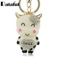 Wholesale led party accessories for sale - beijia Lucky Smile Crystal Cow Keyring Keychains For Car HandBag Pendant Accessories Party Gift Key Chains Holder K213