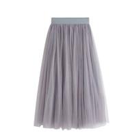 b6f664fb14 2017 Nuevo Verano Tulle Faldas Mujeres Negro Gris Blanco Adulto Falda de Tul  Elástico de Cintura Alta Falda Midi Plisada