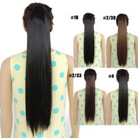 Wholesale Wholesale Fake Hair Ponytail - Wholesale-24 inches extensiones de ponytail extension straight synthetic fake ponytails hair pieces extensions 90g 3 colors available