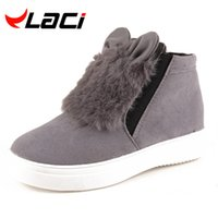 Wholesale korean fashion platform rubber shoes - Wholesale- Fashion Woman Platform With Fur Korean Style Cartoon Ears Boots For Teenager Student Snow Shoes Female Warm Botas