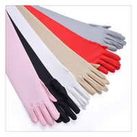 Wholesale Wedding Dresses Long Gloves - Wedding Dress Bridal Gloves Classic Adult Long Party Bridal Dance Gloves Opera Length Satin Gloves Wedding Party Supplies Free shipping