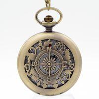 Wholesale Pocket Watch Alice - Retro Alice in Wonderland Roman Numerals and Poker Rabbit Dial ESWN Quartz Pocket Watch Analog Pendant Necklace Men Women Gift