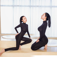 Wholesale High Leotard - High Recomend Women New Sexy Black Bodycon Bodysuit Elastic Soft Fabric Lingerie Erotic Open Crotch Zipper Catsuit Club Leotard Jumpsuit