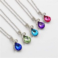 Wholesale Crystal Fresh Water - Fresh fashion Bohemia imitation Austrian crystal diamond necklace water drops angel tears pendant necklace Women's jewelry wholesale