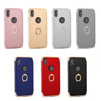 Anneaux En Plastique Pas Cher-Chromed Case + Metal Finger Ring pour Iphone X Galaxy Note 8 Bling 3in1 Shockproof Hybrid Holder Hard Plastic Oil Matte Metallic Stand Cover