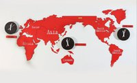 Wholesale Fashion Simple Style Home Furnishing Supplies World Map and Map and a series of red clock