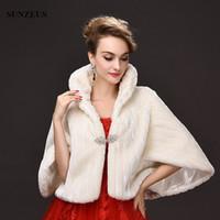 Wholesale Half Neck Fur Jackets - Half Sleeve High Neck Wedding Bolero Jacket Elegant Women Evening Coats Wraps Short Winter Cloak Girls Fur Coat