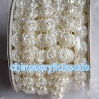 Wholesale Dress Trimmed Flowers - Wholesale 10 Yard Roll 11MM Flat Back Flower Pearl Bead String Trim Chain Pearl Beaded Trim Ribbon For Sewing Wedding Dress